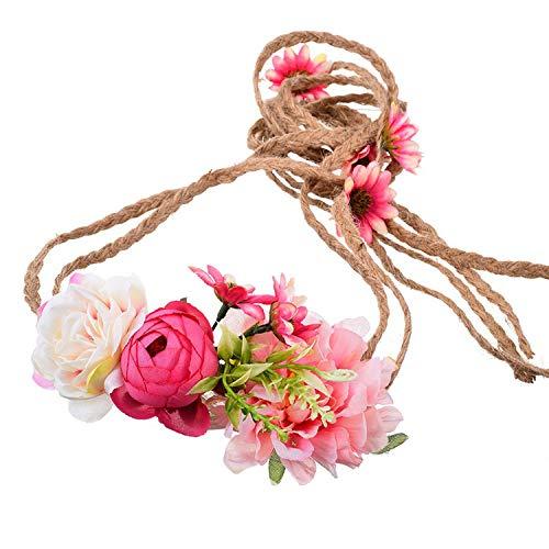 Flower Headbands Belt Korean DIY Wreath Bohemian Hair Accessories for Women Beach Wedding Party Hair Bands Belt,Color B]()