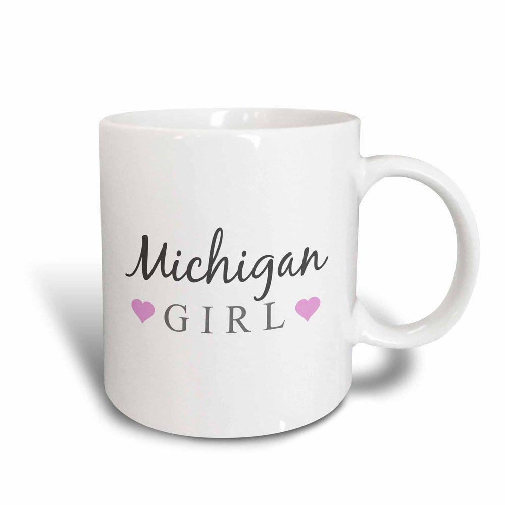 3dRose Mug Michigan Girl - home state pride - USA - United States of America - text and cute girly pink hearts (mug_161854_3) - 11oz - Transforming, Black/White