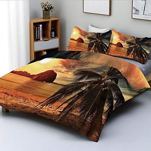 (Duplex Print Duvet Cover Set King Size,Havana Beach Sunny Tropics Mountains and Rocks DecorativeDecorative 3 Piece Bedding Set with 2 Pillow Sham,Best Gift for Kids & Adult)