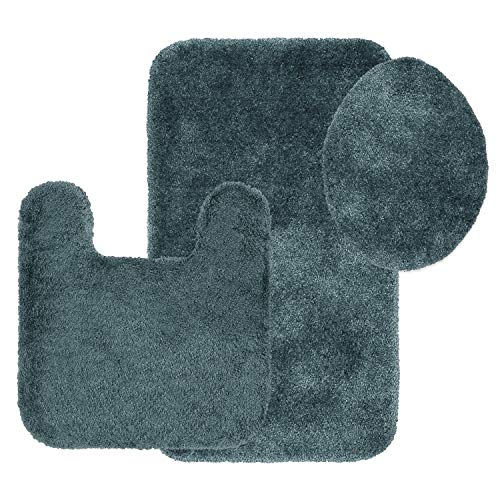 Maples Rugs Bathroom Rugs Colorsoft 3pc Non Slip Washable Bath Mats & Toilet Lid Cover Set [Made in USA] Soft & Quick Dry, Teal Quartz
