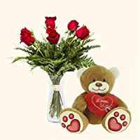 Pack Ramo 6 rosas y Osito de Peluche- Roma- Ramo flores naturales y Osito de Peluche a domicilio- Flores Frescas
