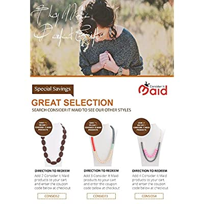 Consider It Maid Silicone Teething Necklace for Mom to Wear - Free E-Book - BPA Free and FDA Approved - Peas in a Pod (38 Inch Orange) : Baby