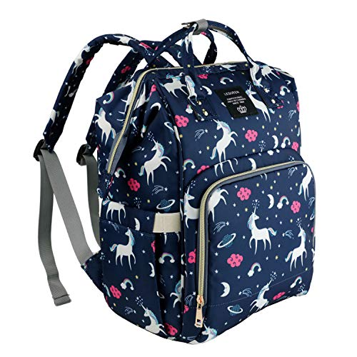 MiGer Diaper Bag Backpack for Mom Dad, Maternity Nappy Bags, Large Capacity Unicorn Baby Diaper Bag Bookbag for Boys Girls (Navy)