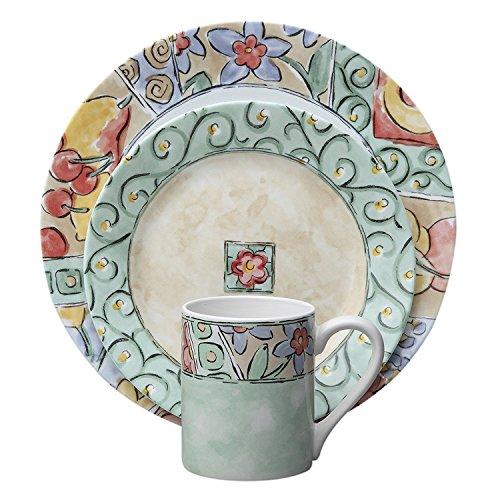 Green Flower Plates Set (Corelle Impressions 16-Piece Dinnerware Set, Watercolors, Service for 4)