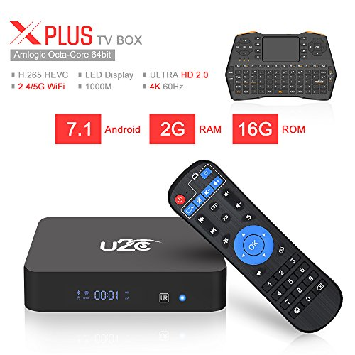 U2C Android 7.1 TV Box, 2GB RAM 16GB ROM Amlogic S912 Octa Core 64 Bits 3D/4K/H.265 Smart TV Box Dual Band WiFi 2.4GHz/5GHz/BT 4.1 X Plus with Mini Wireless Keyboard ()