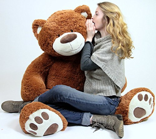 (Big Plush Giant Teddy Bear Five Feet Tall Cinnamon Brown Color Soft Smiling Big Teddybear 5 Foot Bear )