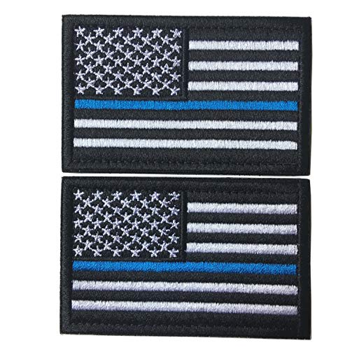 Bundle 2 Pieces-Tactical Police Law Enforcement Thin Blue Line American Flag US United States of America Military Morale Patches (Black-Blue Thin)