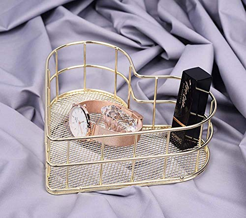 Owlgift Metal Wire Mesh Organizer Storage, Heart Shaped Mesh Basket, Earrings Trinket Storage, Fruit Snacks Tray (Golden) (Heart Mini Snack Tray)