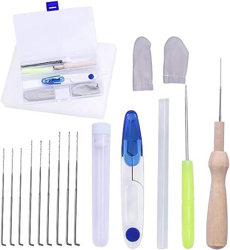 DABHAND kit de fieltro de agujas de fieltro de 18 piezas, agujas de fieltro de lana con 9 agujas y kit de iniciación de espuma de fieltro con práctico estuche: Amazon.es: Juguetes