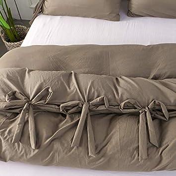 wide smile Large Sourire de Luxe Housse de Couette d/élav/é Coton Doux Couleur Unie avec Housse de Couette Solide Bowknot Cravates Motif Parure de lit Blanc Double