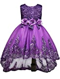 21KIDS Elegant Sleeveless Sequins Hem Tulle Long Tail Wedding Party Princess Gown Pageant Dress,Purple,7-8 Years