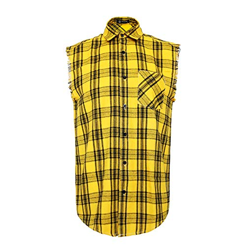 MCULIVOD Sleeveless Plaid Snap-Front Shirt for Men, Cowboy Button Down Shitrs Yellow,Large