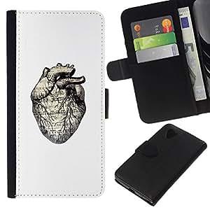 All Phone Most Case / Oferta Especial Cáscara Funda de cuero Monedero Cubierta de proteccion Caso / Wallet Case for LG Nexus 5 D820 D821 // White Drawing Human Heart Anatomy