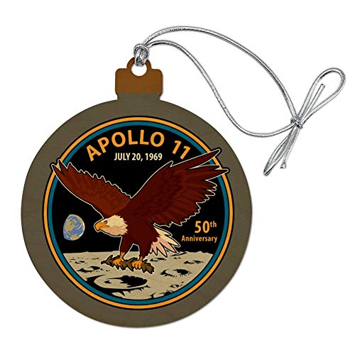 (GRAPHICS & MORE NASA Apollo 11 50th Anniversary Patch with Eagle on The Moon Wood Christmas Tree Holiday Ornament)