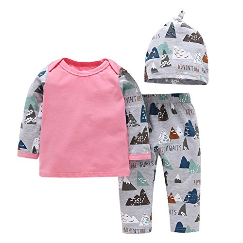 OUTGLE Newborn Baby Girl Boy Hills Print Pullover Top + Trousers + Hat Clothing Set Autumn Winter Outfits