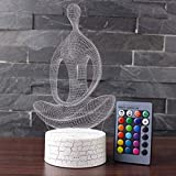 3D Illusion Yoga and Meditation Night Lamp with Remote Control, 7 Color Change, Touch White Base, Power by AA Batteries