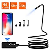 Wireless Endoscope, KZYEE 5.5mm Diameter WiFi Borescope Inspection Camera 2.0 MP HD IP67 Waterproof Snake Camera for Android & IOS Smartphone Tabletke Camera for Android & IOS Smartphone Tablet-11.5FT