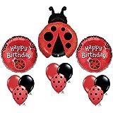 Ladybug Happy Birthday Balloon Bouquet Set Party Red Black Mylar Latex Lady Bug