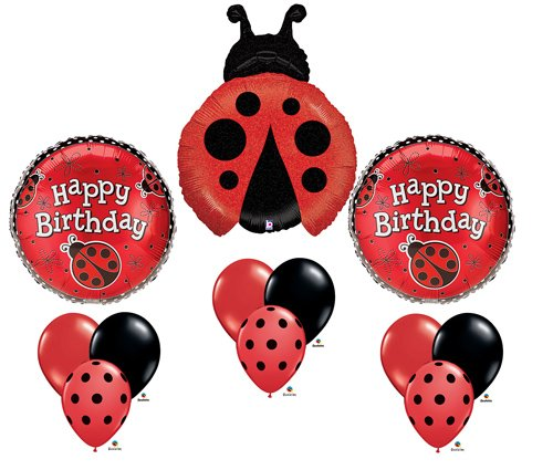 Ladybug Happy Birthday Balloon Bouquet Set Party Red Black Mylar Latex Lady Bug -