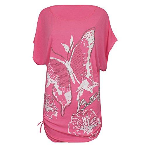donna Loose donna da Nuovo Size nbsp; stampa Baggy Top T 8 Plus pipistrello da Uk a Taglia paillettes maniche Shirt xtFqdPqr5w