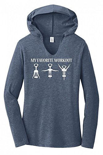 Ladies Hoodie Shirt My Favorite Workout Funny Wine Lover Corkscrew Gym Tee Navy Frost XL