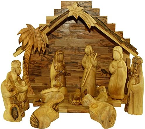Holy Land Market Olive Wood Nativity Set- Modern Style