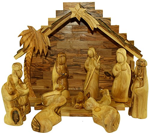 Olive Wood Nativity Set- Modern Style by Holy Land Market