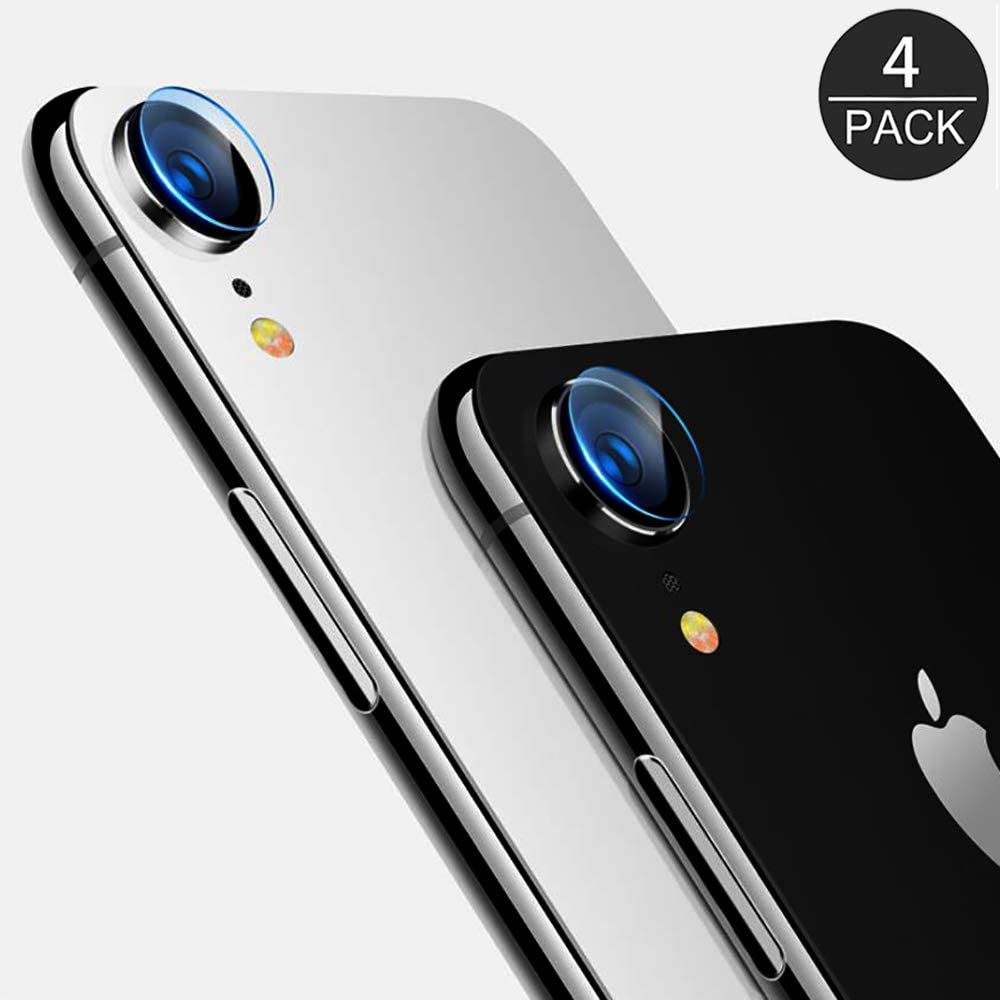 (4 Pack) AKWOX Compatible iPhone XR Camera Lens Protector, Ultra Thin 0.2mm 9H Hard Tempered Glass Camera Lens Protector for iPhone XR 6.1 inch, Anti-Scratch,Dustproof,High Transmittance