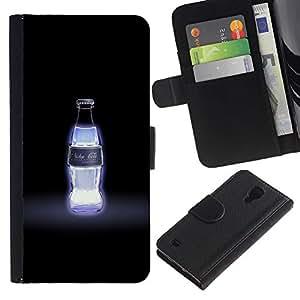 """A-type (Nuka Cola Quantum AZUL"""") Colorida Impresión Funda Cuero Monedero Caja Bolsa Cubierta Caja Piel Card Slots Para Samsung Galaxy S4 IV I9500"""