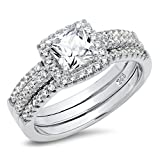 Metal Factory Sz 9 Sterling Silver Cushion Cubic Zirconia CZ 2Pc Halo Wedding Engagement Ring Insert Set