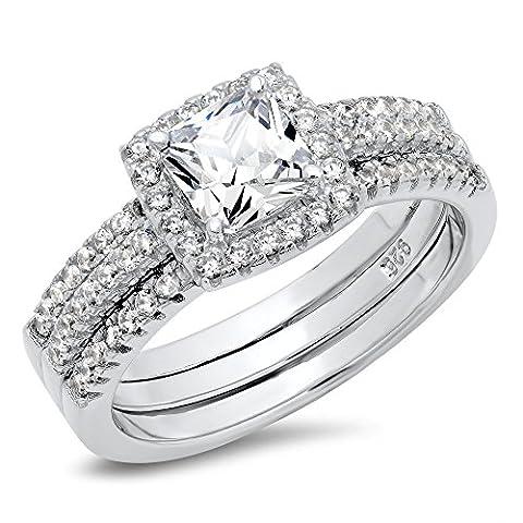 Sz 6 Sterling Silver Cushion Cubic Zirconia CZ 2Pc Halo Wedding Engagement Ring Insert Set - Sterling Silver Engagement Plated Ring