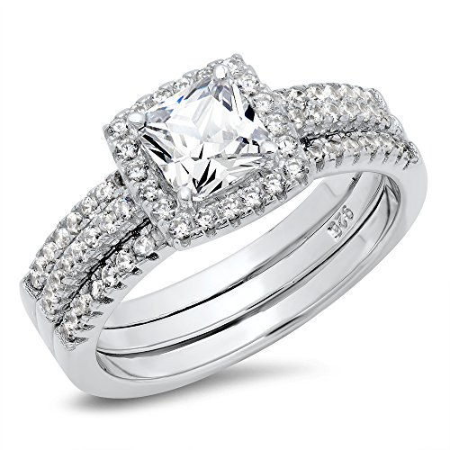 Sz 6 Sterling Silver Cushion Cubic Zirconia CZ 2Pc Halo Wedding Engagement Ring Insert Set ()