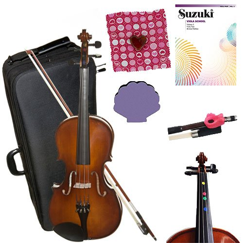 Children's Viola Beginner Viola Pack 14'' (9-12yr old) - with Beginner Viola Book, Finger Markers, Heart Rosin, Seashell Shoulder Rest, Pink Hold Fish by Student Violas