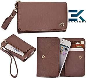 Samsung E1230 (Bar phone) Genuine Leather Wristlet Phone Holder/Wallet |TAN| Ekatomi&153;