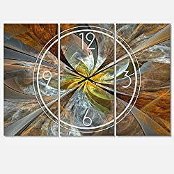 Designart Symmetrical Yellow Fractal Flower Wall Art Design Modern 3 Panel Wall Decorative Clock - Home Decorations for Home, Living Room,Bedroom, Office Decoration Multi Panel Metal Wall Clock