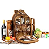 "apollo walker Picnic Backpack Bag for 4 Person with Cooler Compartment,Wine Bag, Picnic Blanket(45""x53""),Best for Family and Lovers Gifts"