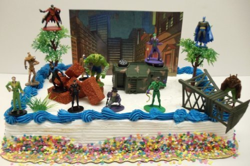 Batman Gotham City Under Attack 20 Piece Birthday Cake Topper Set Featuring Batman, Robin, Catwoman, Killer Croc, Penguin, Riddler, Two-Face, Joker, Scarecrow, Man-Bat and Themed Decorative Accessories - Cake Topper (Party City Cake)