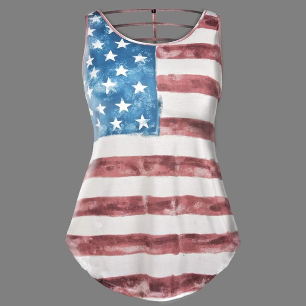 f3b16b8f5a5 Amazon.com   Fiaya 4th Of July Women Clothes Tank Top Plus Size Sleeveless  O Neck American Flag Loose T-Shirt Vest (Black Flag A01