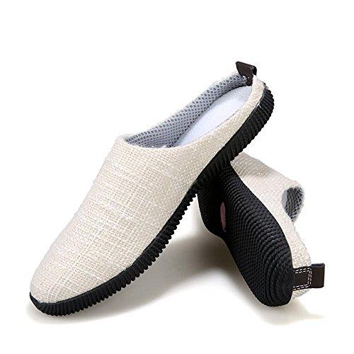 Deslizamiento talón shoes EU Mocasines los Zapatos Caqui tamaño Lona sólido Color en Casuales Meimei Color De holgazán Plano Hombres 42 Superior z8nCq