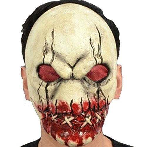 Scary Evil Latex Doll Mask Halloween Horror Mask Stitch Mouth Sewn Face Masks Adult Fancy Party]()
