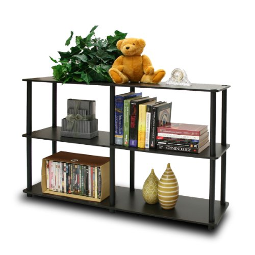 Furinno 99130EX/BK Turn-N-Tube 3-Tier Double Size Storage Display Rack, Espresso/Black (Storage Bathroom Low)