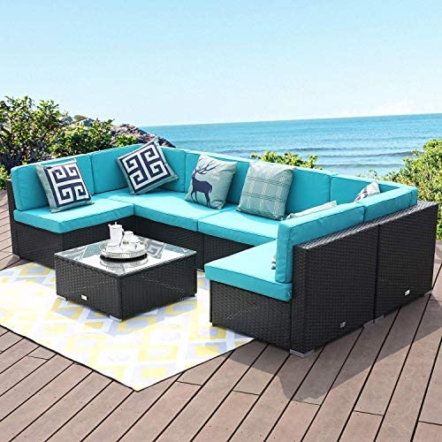LUCKWIND Patio Conversation Sectional Sofa Chair Table