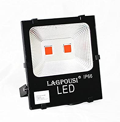 lagpousi 100W LED Flood Light Outdoor, IP66 Waterproof Lighting LED Spotlight, 500W Equivalent, 9000LM, Red(605~680nm) Wall Lights, Energy Efficient Security Lighting