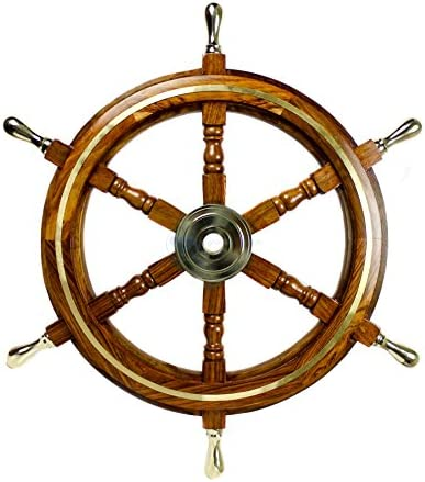 Nagina International Nautical Premium Sailor s Hand Crafted Brass Wooden Ship Wheel Luxury Gift Decor Boat Collectibles 36 inches, Black Aluminum Ring Handle