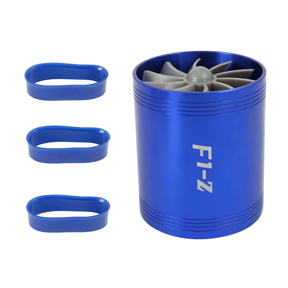 Doble ventilador de turbina, filtro de aire de entrada de gas para coche, ahorro de combustible universal para Turbine Turbocompresor F1-Z con 3 soportes de goma elfisheu