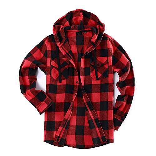 Men's Lightweight Flannel Long Sleeve Plaid Fleece Shirt with Hoodie (Large, N-Black,Red)