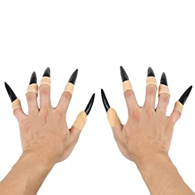 amazoncom genluna halloween props fake finger nails witch ghost nail black clothing