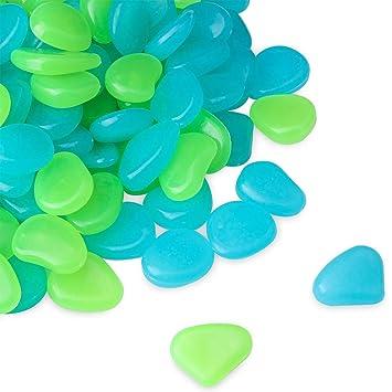 HomTop Piedra Luminosa, Glow in the Dark Pebbles, 200pcs Azul y Verde Resplandor Exterior