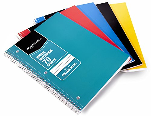 AmazonBasics College Ruled Wirebound Notebook, 70-Sheet, Assorted Solid Colors, 5-Pack ()