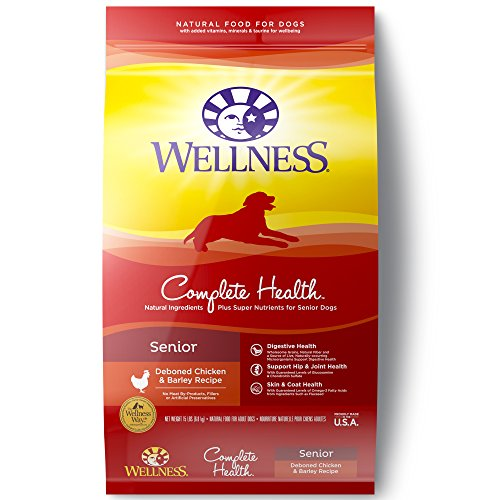 Wellness Complete Health Natural Dry Senior Dog Food, Chicken & Barley, 15-Pound Bag